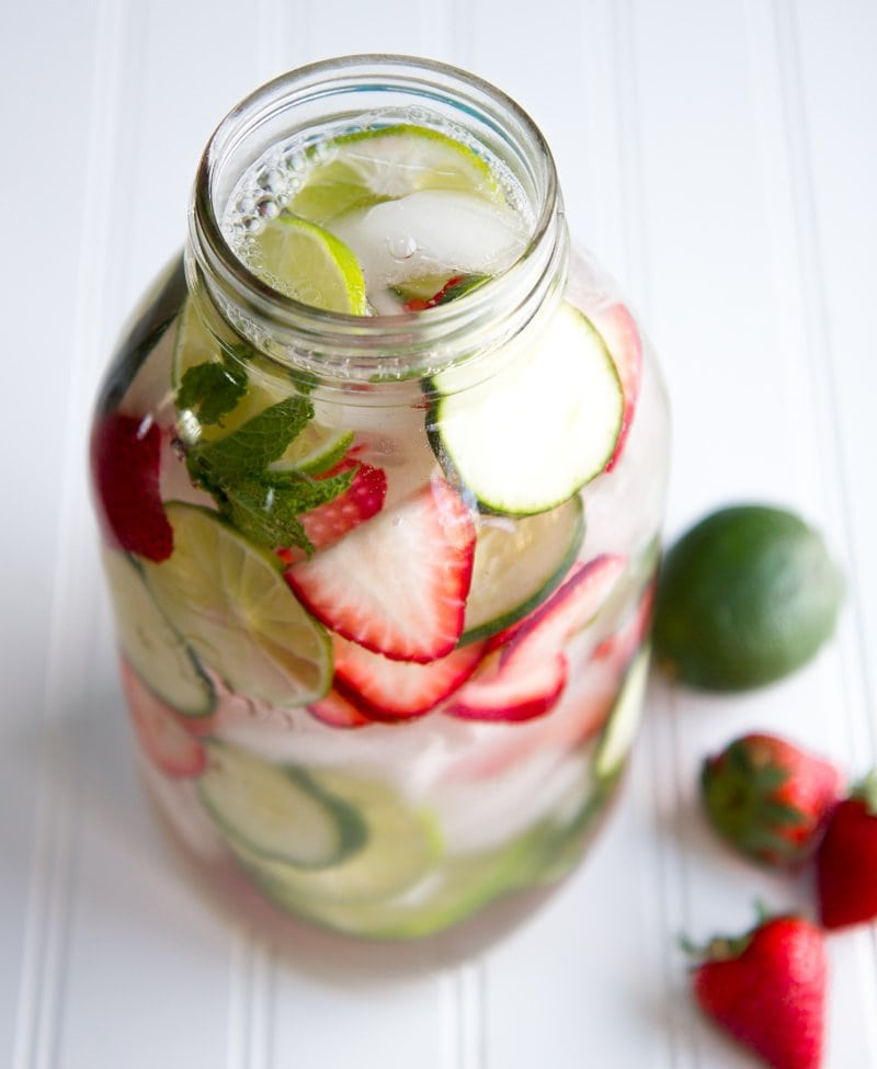 strawberry lime infused water