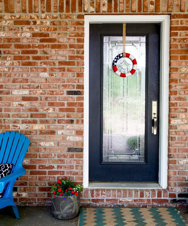 flag wreath front porch door