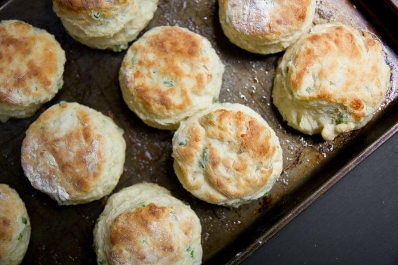 Garlic Scape Cheddar Biscuits