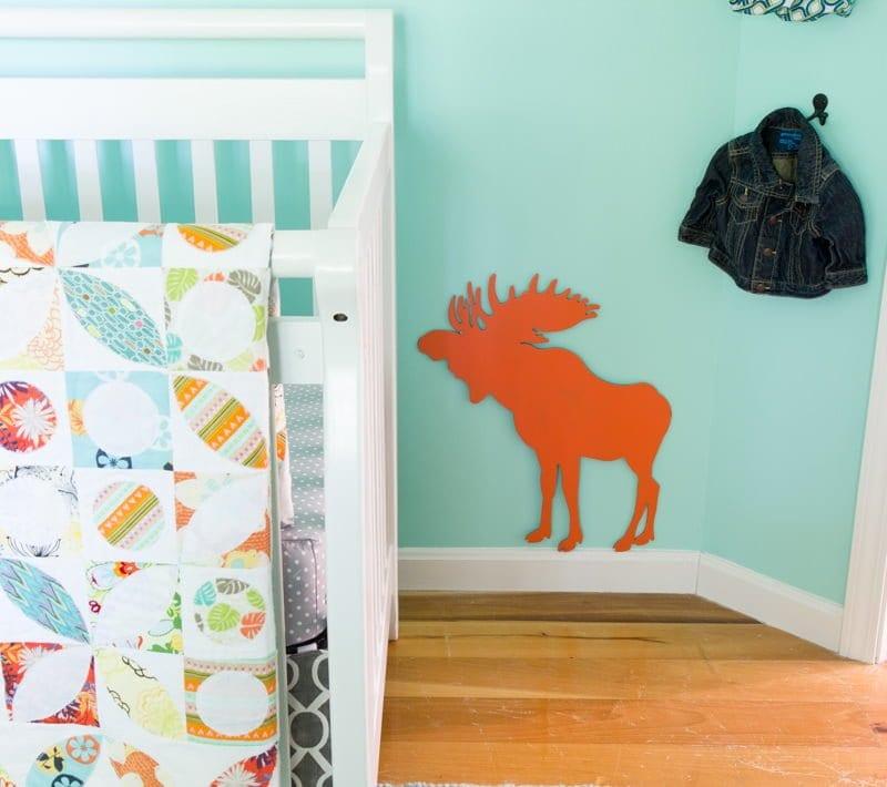nursery crib moose