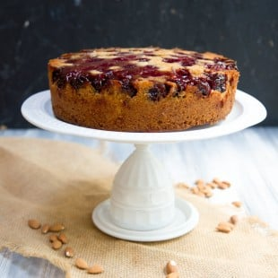 Cherry-Almond Upside Down Cake with Blue Diamond Almonds