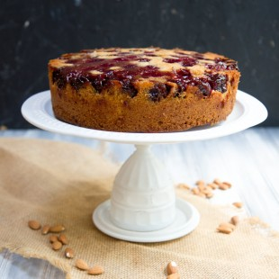 Cherry-Almond Upside Down Cake with Blue Diamond Almonds