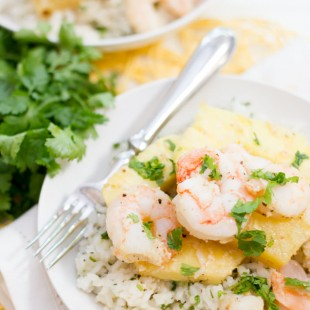 Shrimp and Pineapple Packets with Coconut-Cilantro Rice