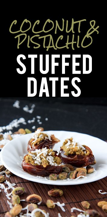 coconut-pistachio stuffed dates - Back to Her Roots