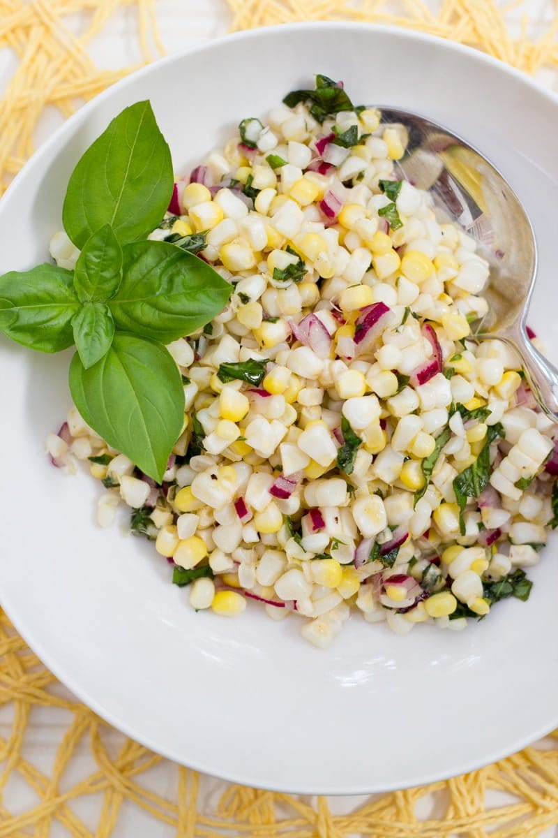 Fresh Corn and Basil Salad
