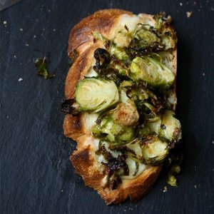 Roasted Brussels Sprouts and Gruyere Toasts