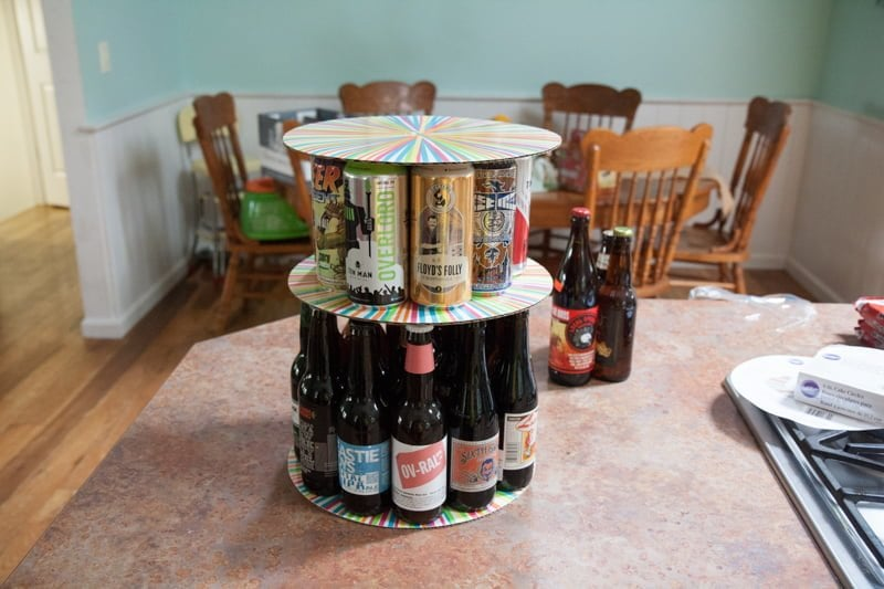 Make Birthday Beer Cake on liquor display ideas