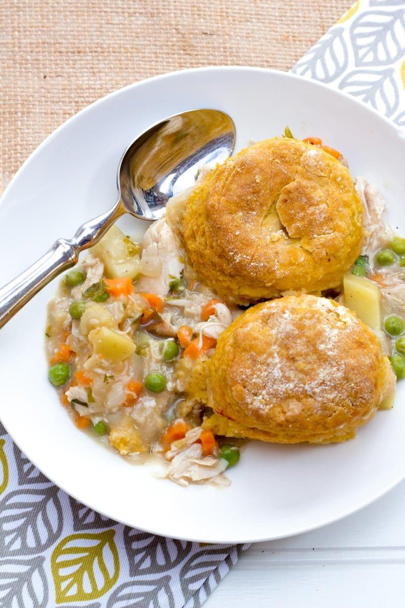 Turkey Pot Pie with Sweet Potato Biscuits