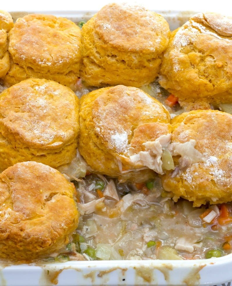Turkey Pot Pie with Sweet Potato Biscuits