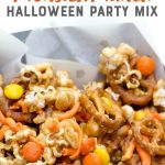 Peanut Butter Monster Munch Halloween Party Mix with a text overlay