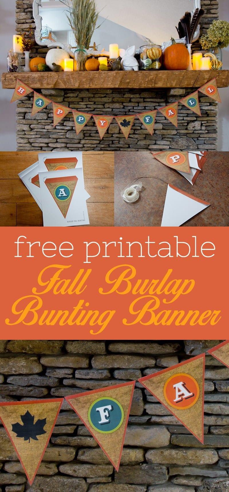Free Printable Fall Burlap Bunting Banner