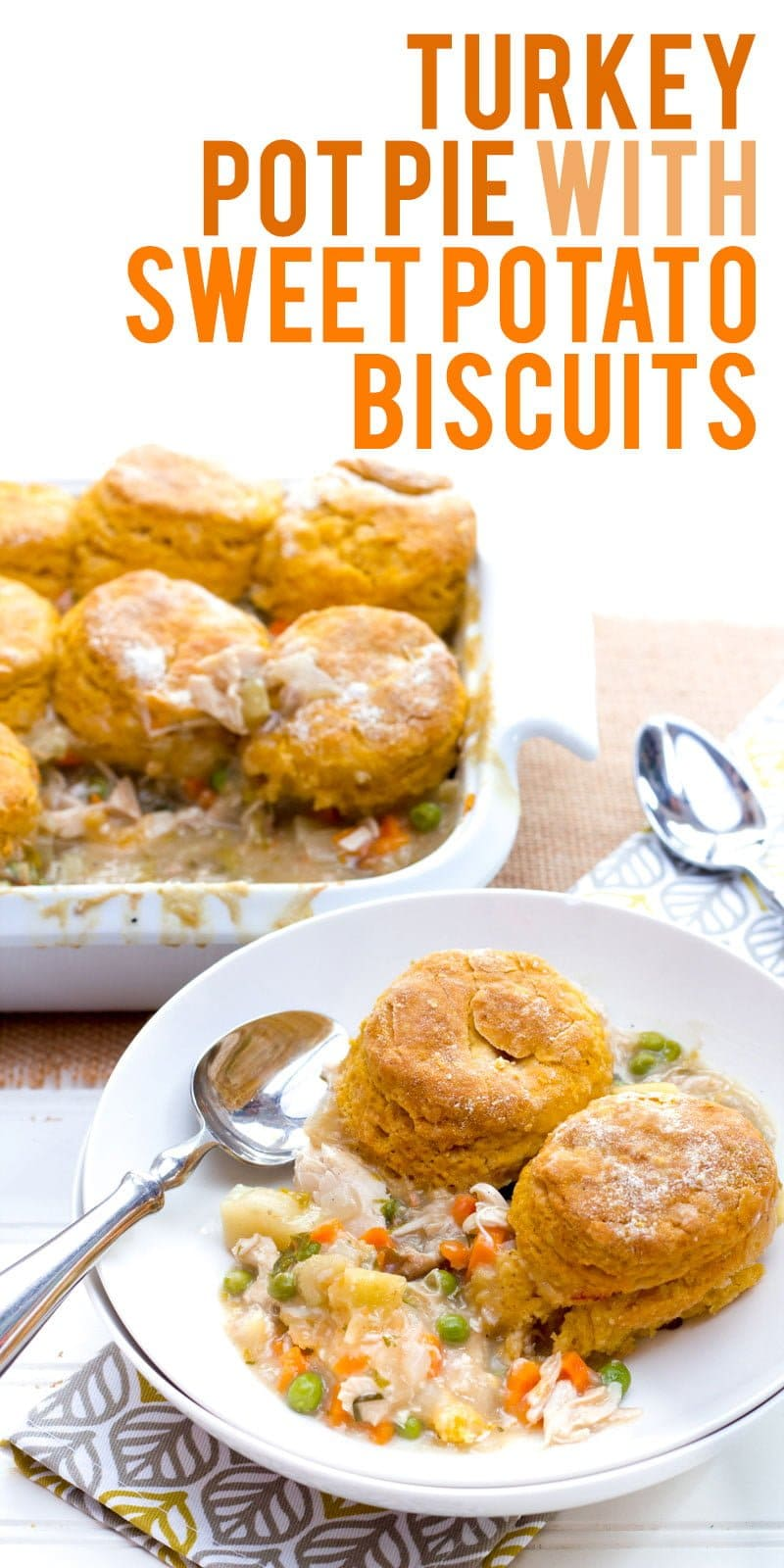 leftover turkey pot pie with biscuit topping