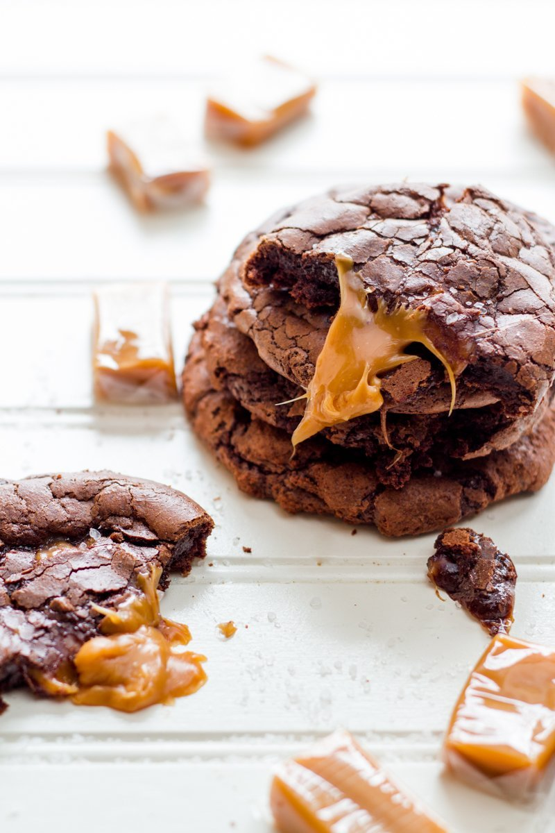 Salated Caramel Dark Chocolate Brownie Cookies