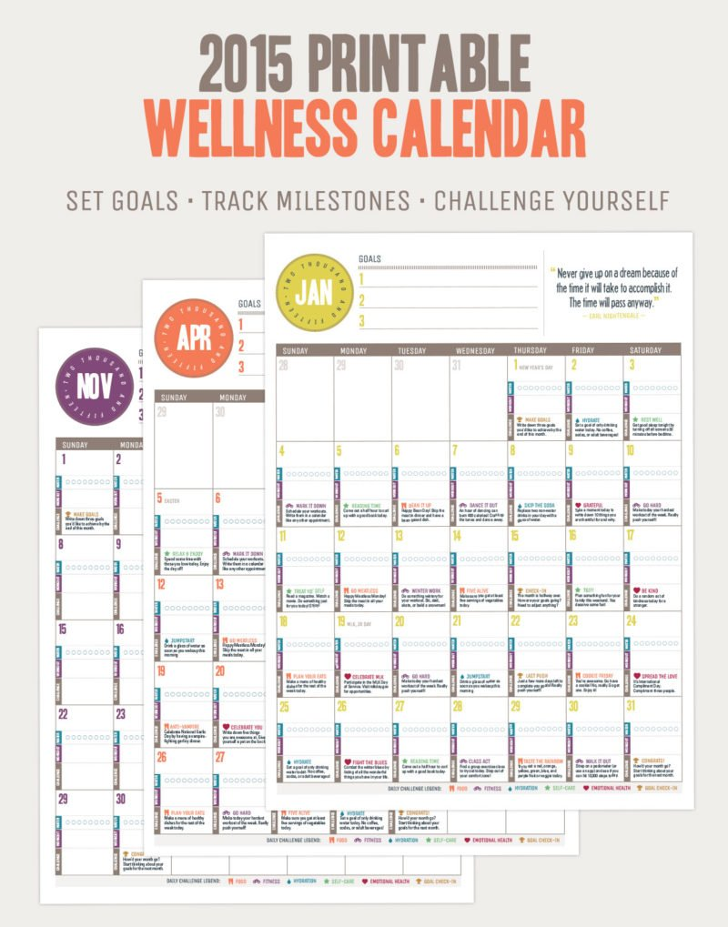 2015 Printable Wellness Calendar