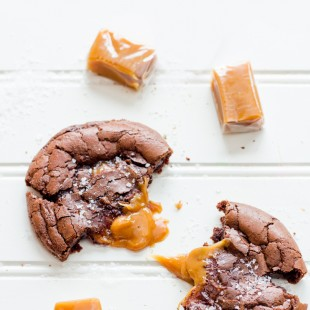 Salted Caramel Dark Chocolate Brownie Cookies