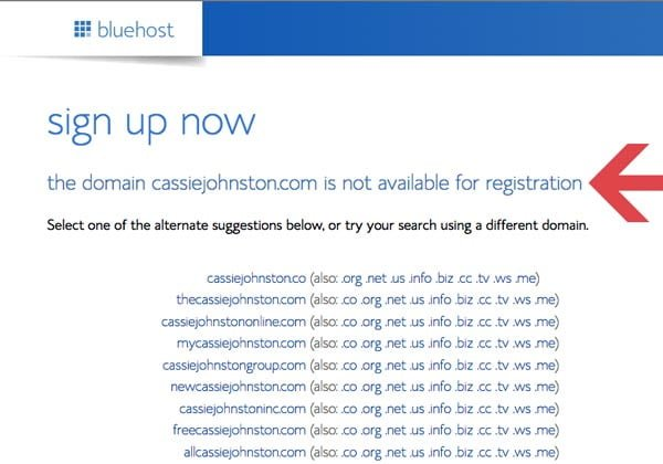 BlueHost New Domain