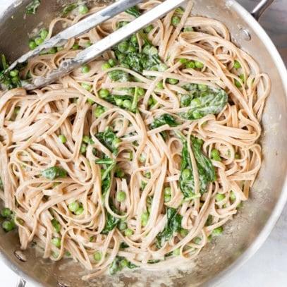 Pea and Spinach Fettuccine Alfredo