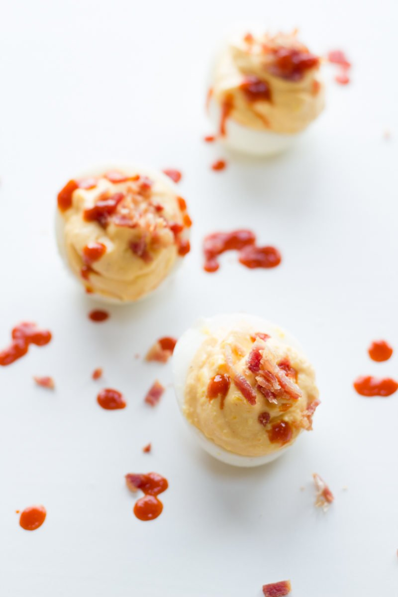 Bacon and Sriracha Deviled Eggs