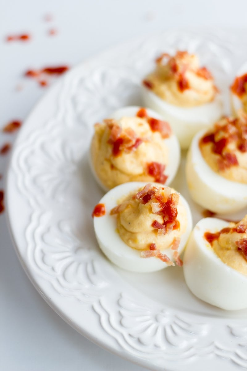 Bacon and Sriracha Deviled Eggs - Wholefully