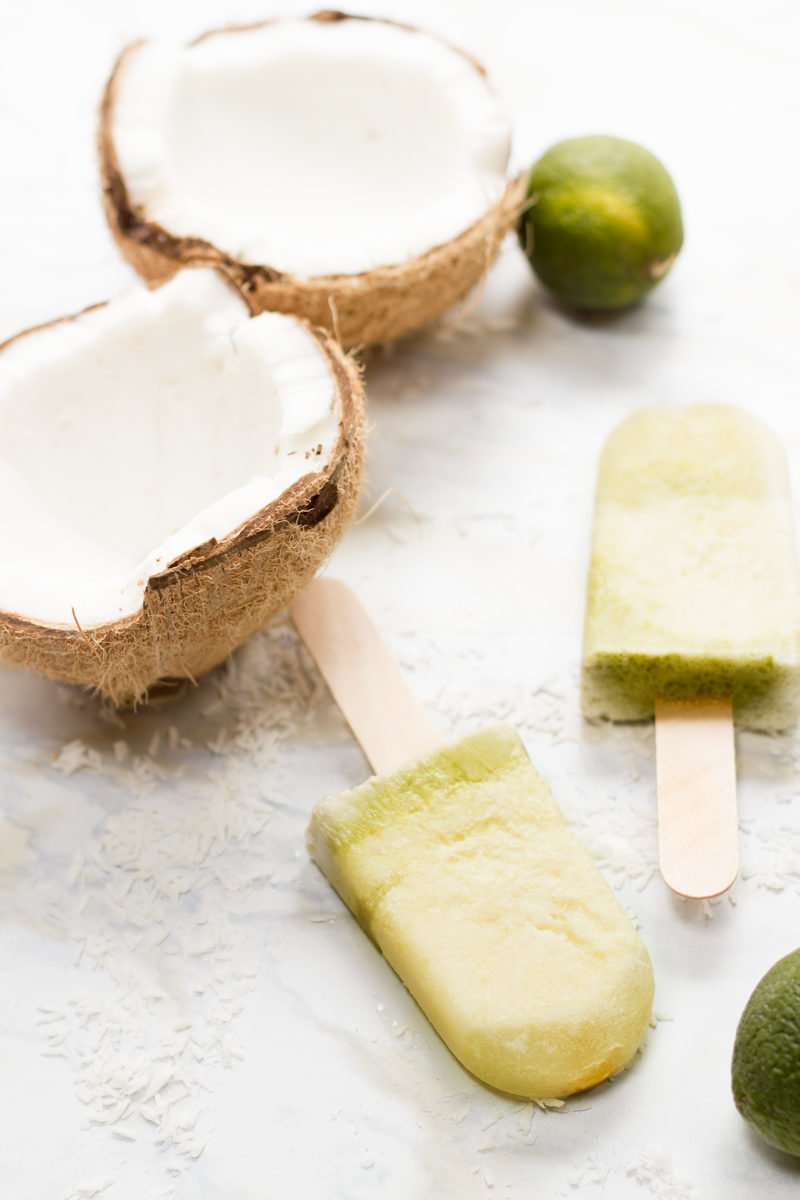 Lime and Pina Colada Popsicles