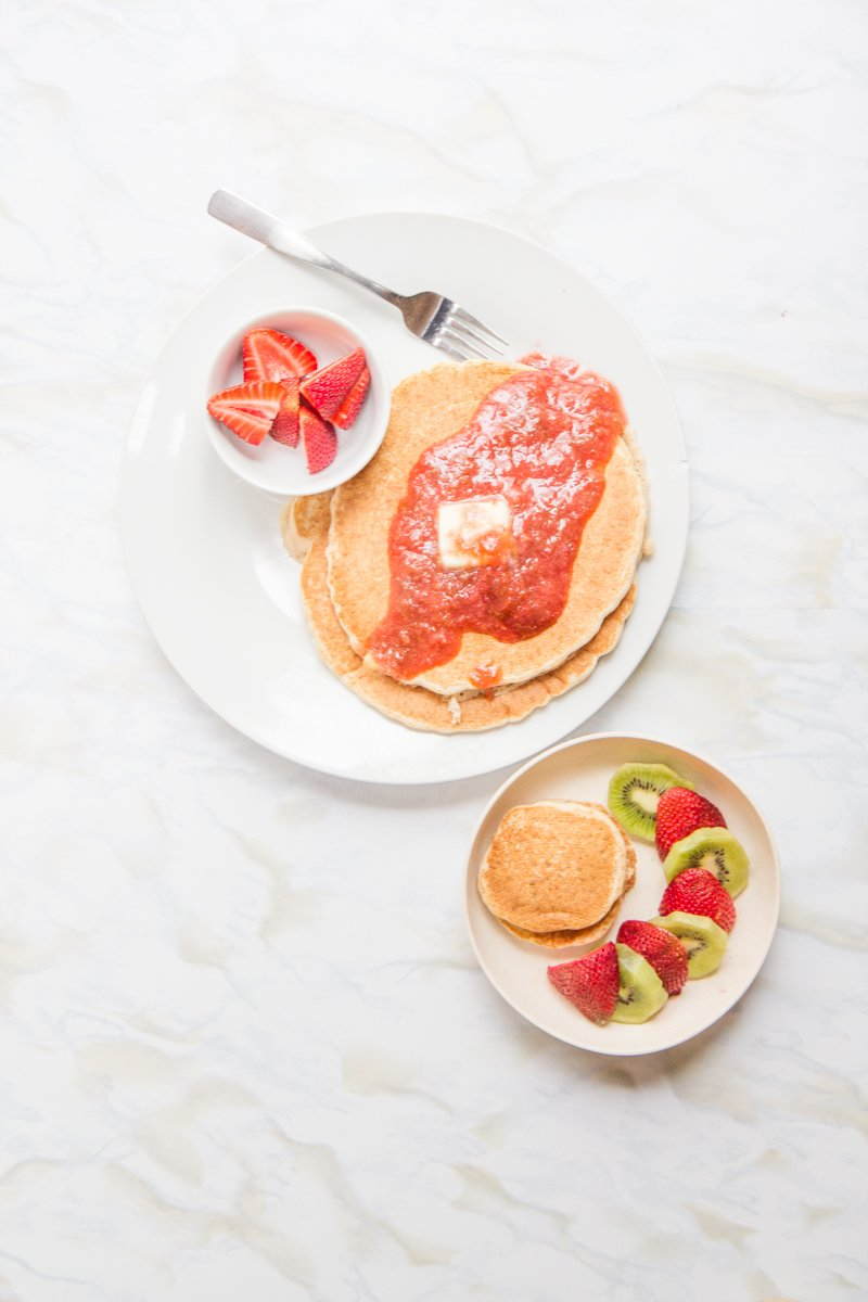 ... /// Whole wheat pancakes with strawberry rhubarb sauce, strawberries