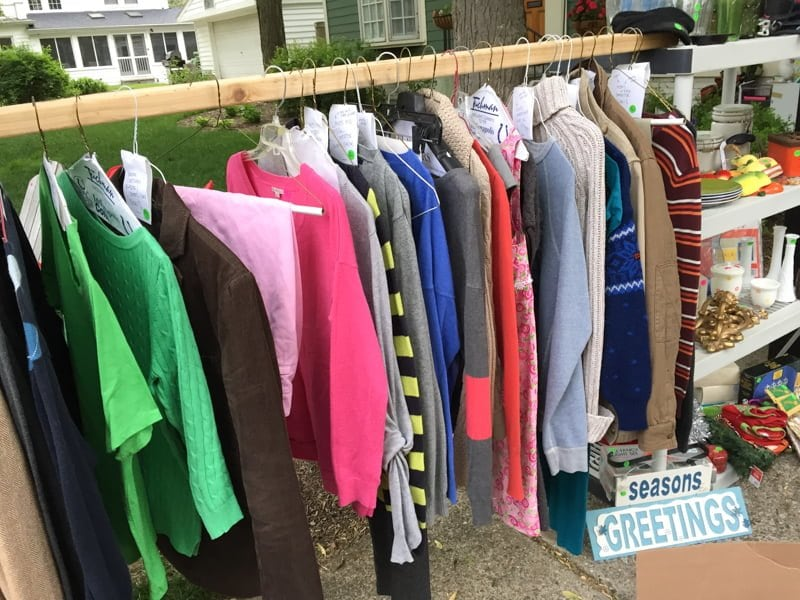 clothes rack ideas for garage sale - Yard Sale Tips & Tricks How We Made $1549