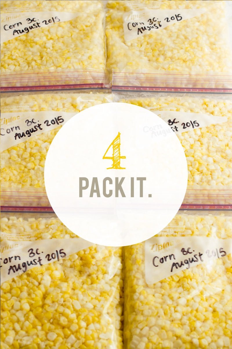 """Zip-top bags filled with corn kernels. A text overlay reads """"4. Pack It."""""""