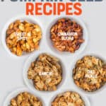 "Six small white bowls, each filled with different flavors of roasted pumpkin seeds. A text overlay reads ""6 Easy Roasted Pumpkin Seed Recipes."""