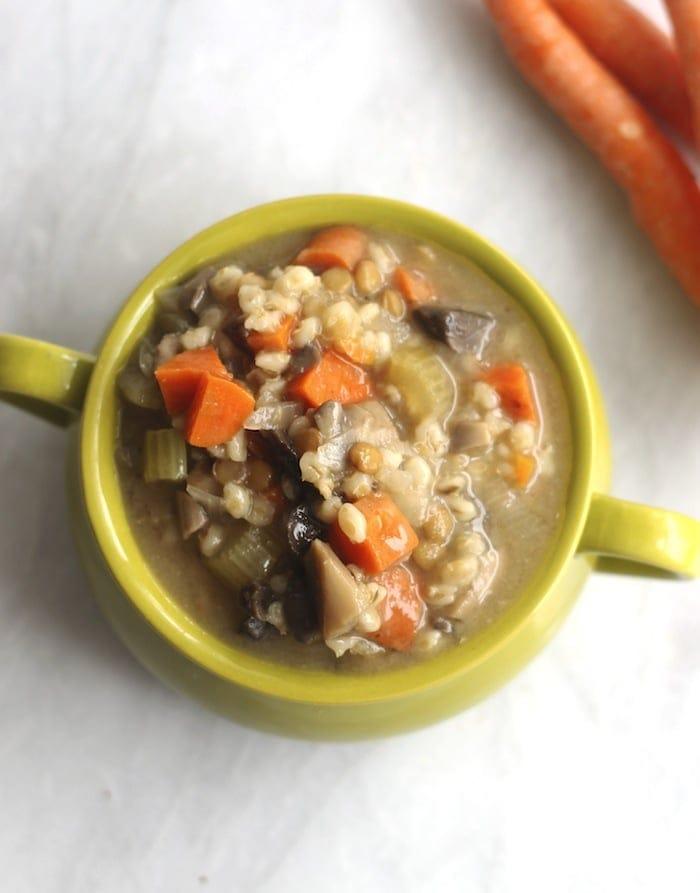 Crockpot Mushroom, Barley and Lentil Soup