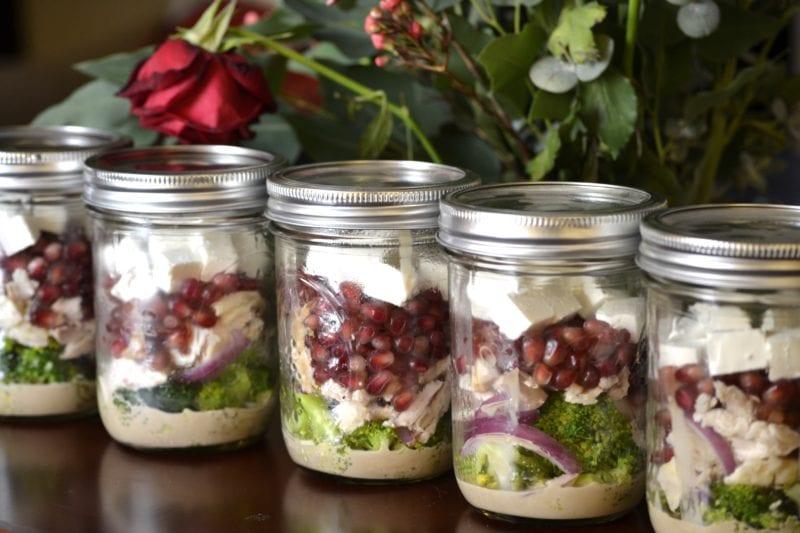 Mason Jar Broccoli Pomegranate Salad SubjectVerbObject
