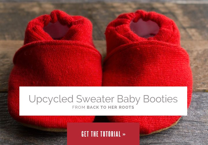 Upcycled Sweater Baby Booties from Wholefully