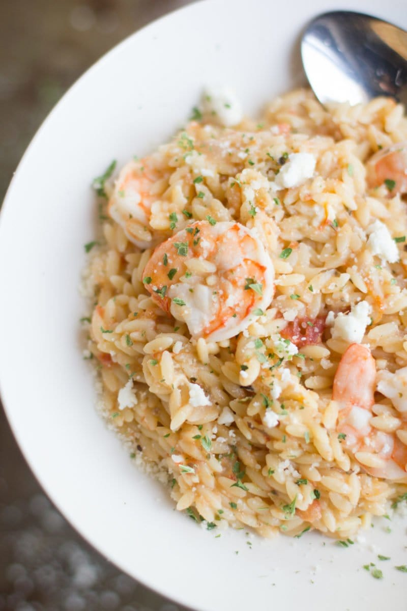 One Pot Lemon Orzo with Shrimp