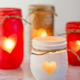Painted Mason Jar Votive Holders