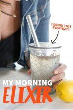 "Woman leaning in to drink from a glass with a glass straw. A text overlay reads ""My Morning Elixir. I Drink This Every Day!"""