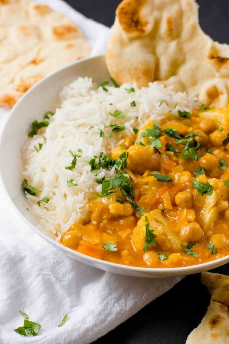 This Chickpea and Cauliflower Curry is packed with exotic flavor, but only takes about 20 minutes to come together.