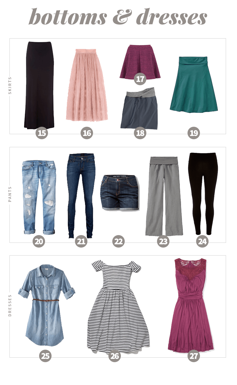 Summer 2016 Capsule Wardrobe Bottoms