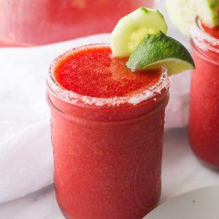 Frozen Cucumber Strawberry Margaritas