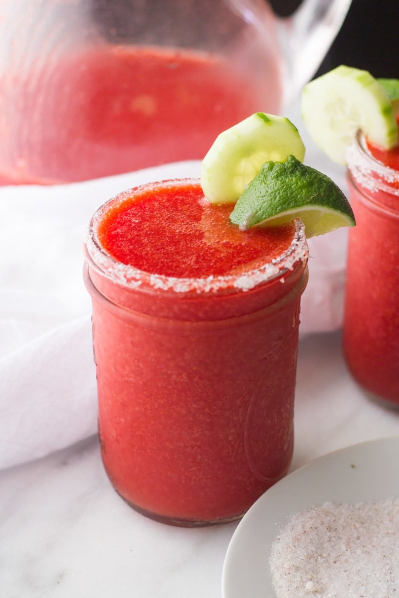 Frozen Strawberry Cucumber Margaritas