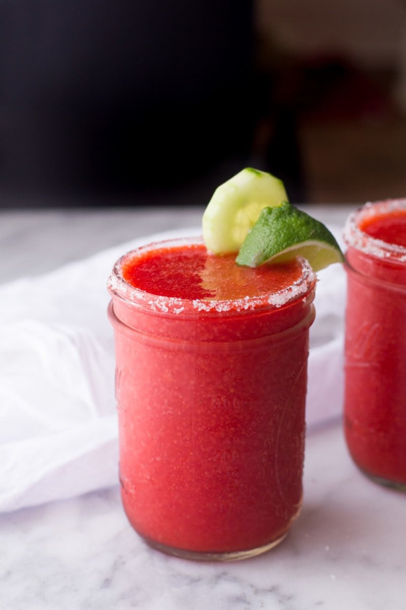 Frozen Cucumber Strawberry Margaritas