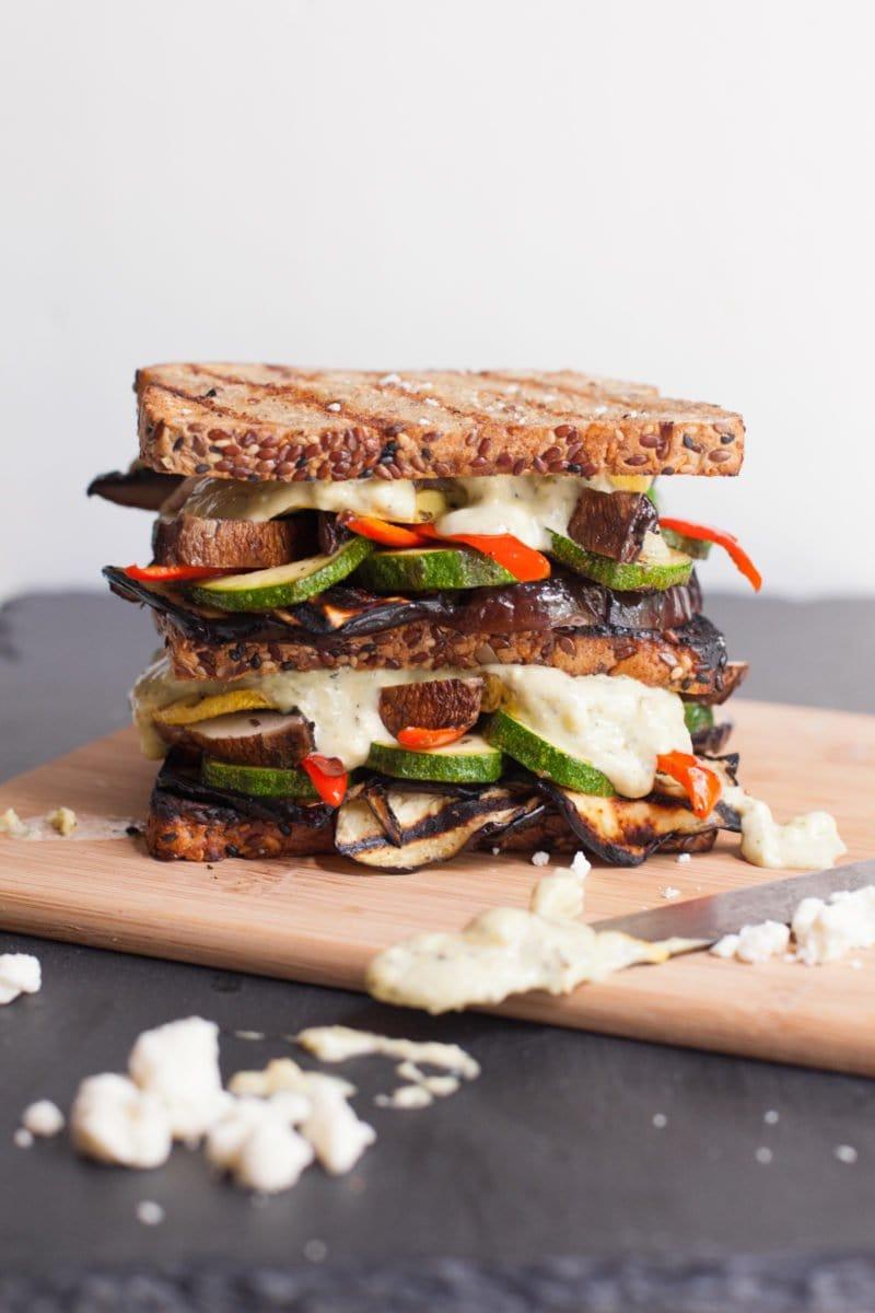 Grilled Veggie Sandwich with Pesto-Feta Mayo