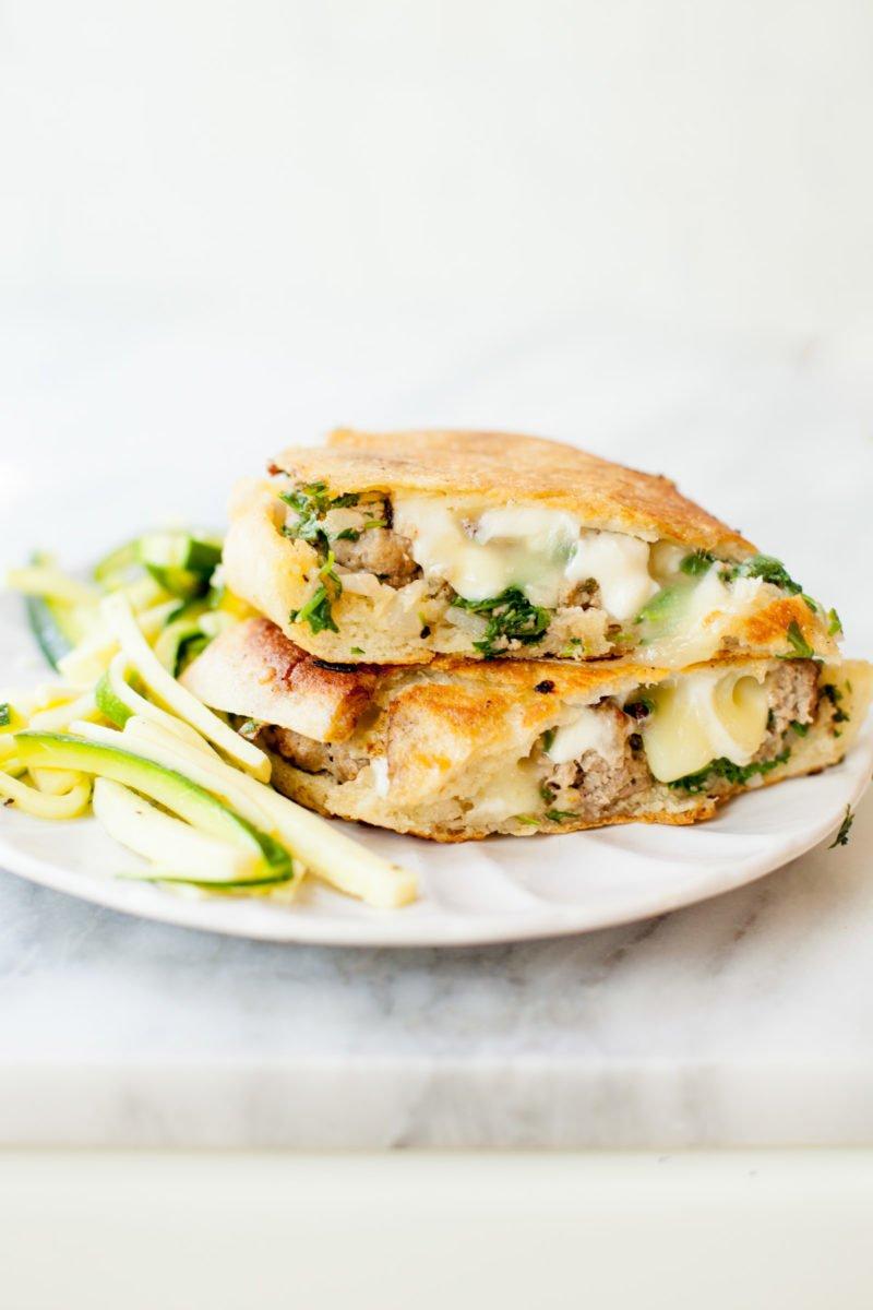 Arugula Pesto Meatball and Mozzarella Panini