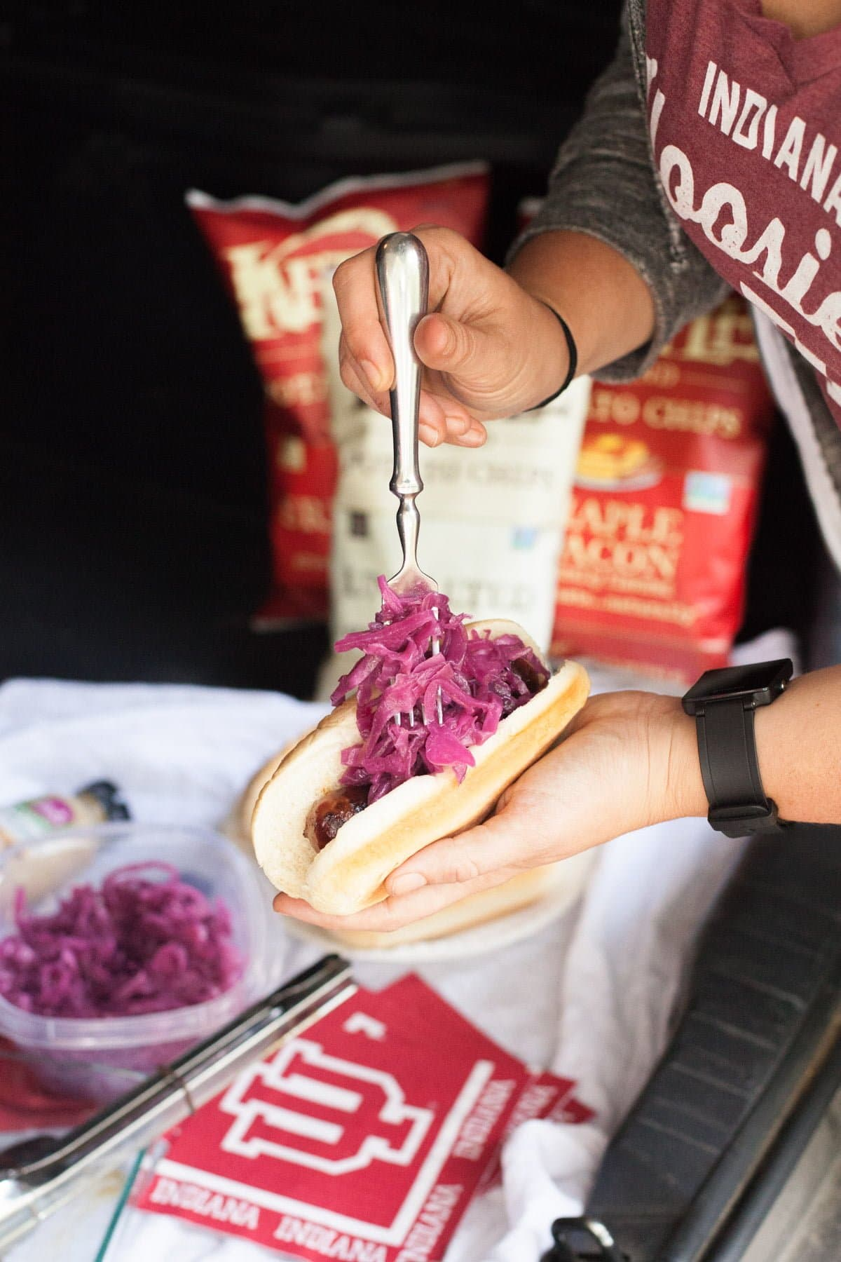 Beer Braised Brats with Quick Red Sauerkraut