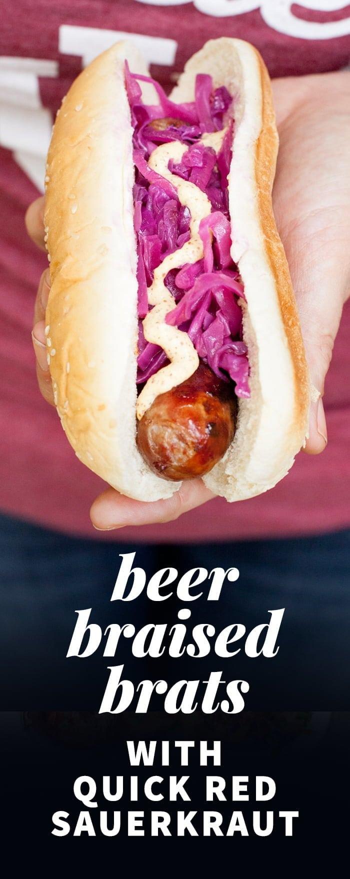 Beer Braised Brats with Quick Red Sauerkraut