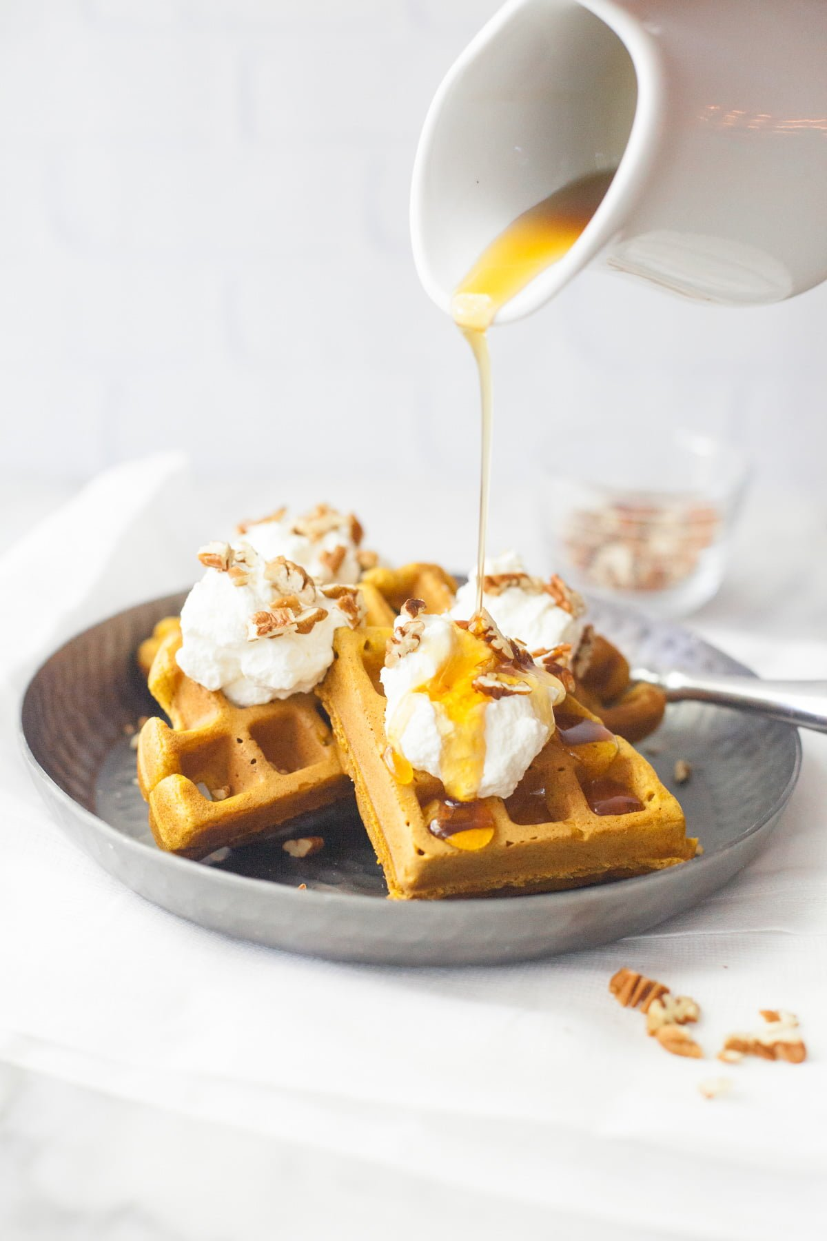 Whole Wheat Pumpkin Waffles - Back to Her Roots
