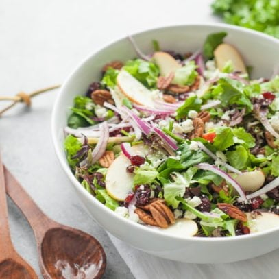 Cranberry Apple Pecan Salad with Honey Mustard Vinaigrette