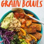 """Teal bowl filled with rice, tofu, and veggies. A text overlay reads """"How to Make Awesome Grain Bowls."""""""