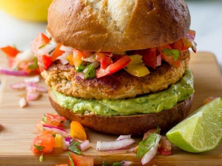 Salsa Chicken Burgers With Cilantro Avocado Sauce Wholefully