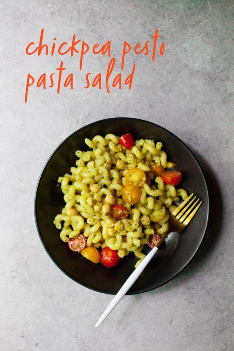 Chickpea Pesto Pasta Salad