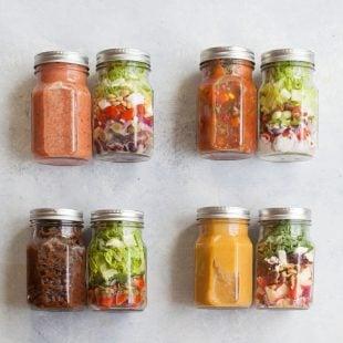 4 Soup and Salad Mason Jar Lunch Combos