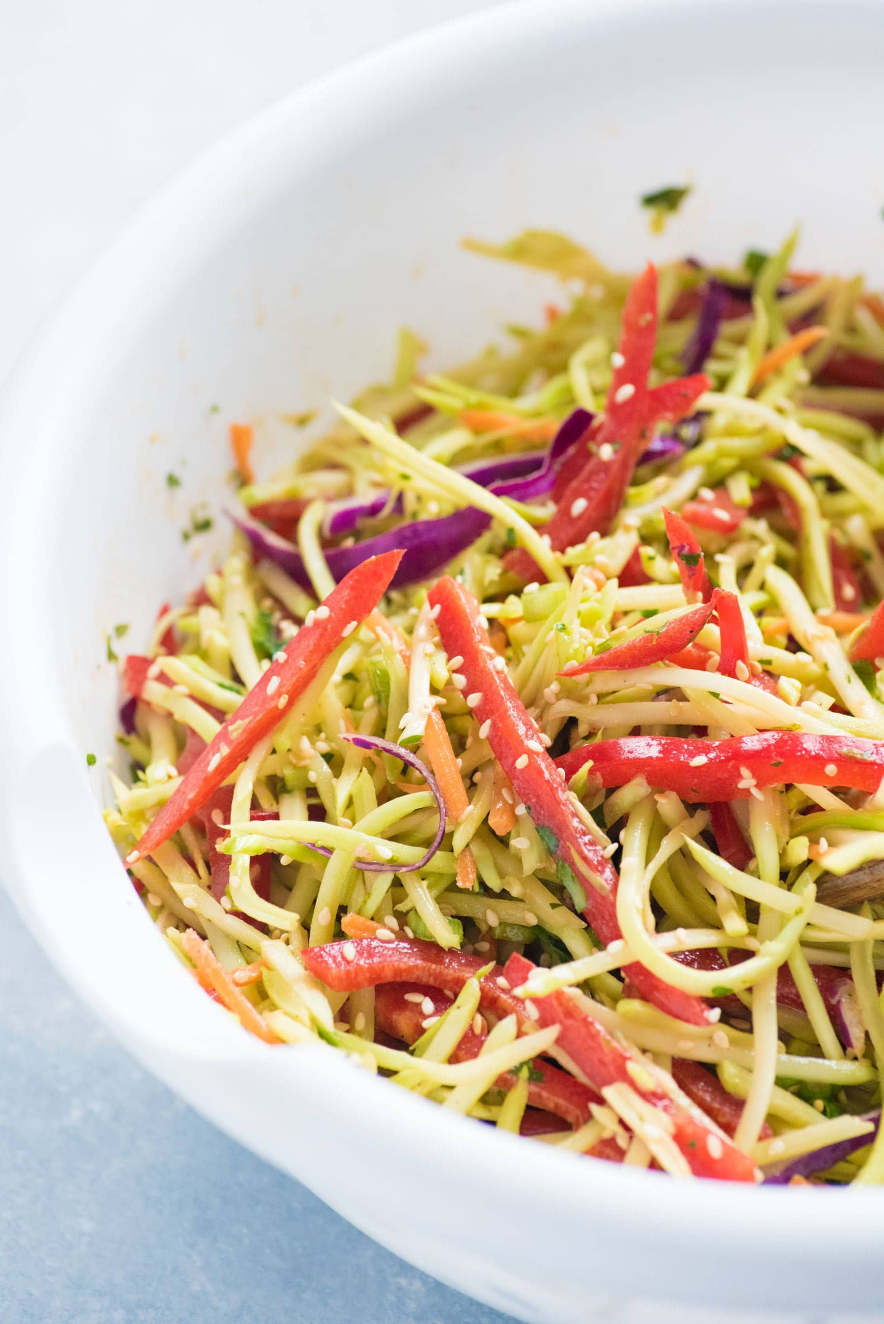Close up side shot of sesame broccoli slaw